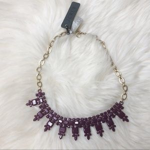 J. Crew Statement Necklace Purple w/ Gold Chain